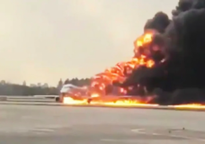 Burning passenger plane makes emergency landing at Moscow airport