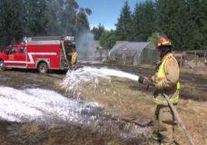 Teens capture video of fire that spread to hayfield in Cedar