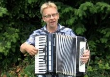 Johnny Cunningham plays the accordion and sings. He's been busking in Comox for several years but now the town is saying he can't play anymore. Kendall Hanson tells us why.