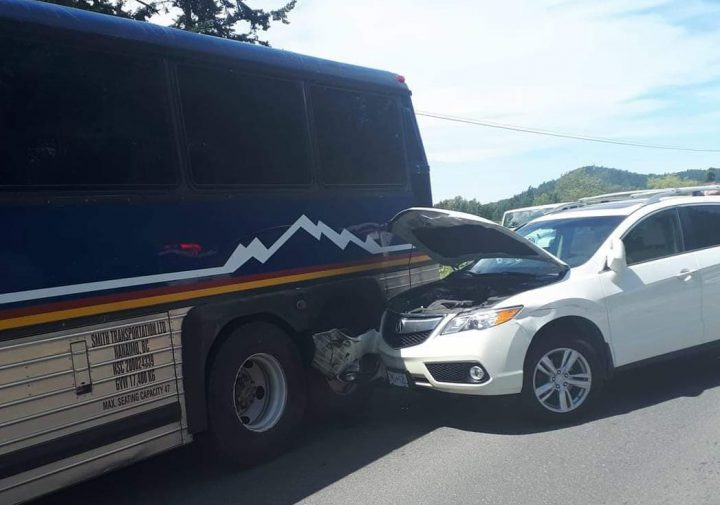 A SUV hit a motorcycle and then a bus on the Pat Bay Sunday after the driver fell asleep. (Photo: Mike Harrington)