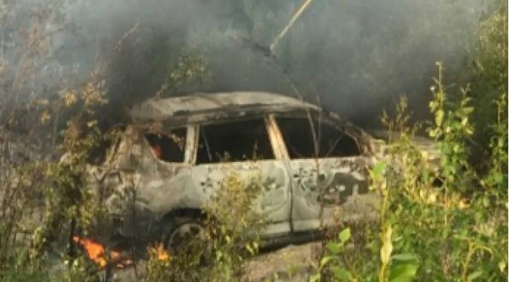 The torched vehicle was found in bush off Highway 290, which links Gillam and Fox Lake Cree Nation. (Submitted by Cassandra Neepin/Courtesy of CBC)