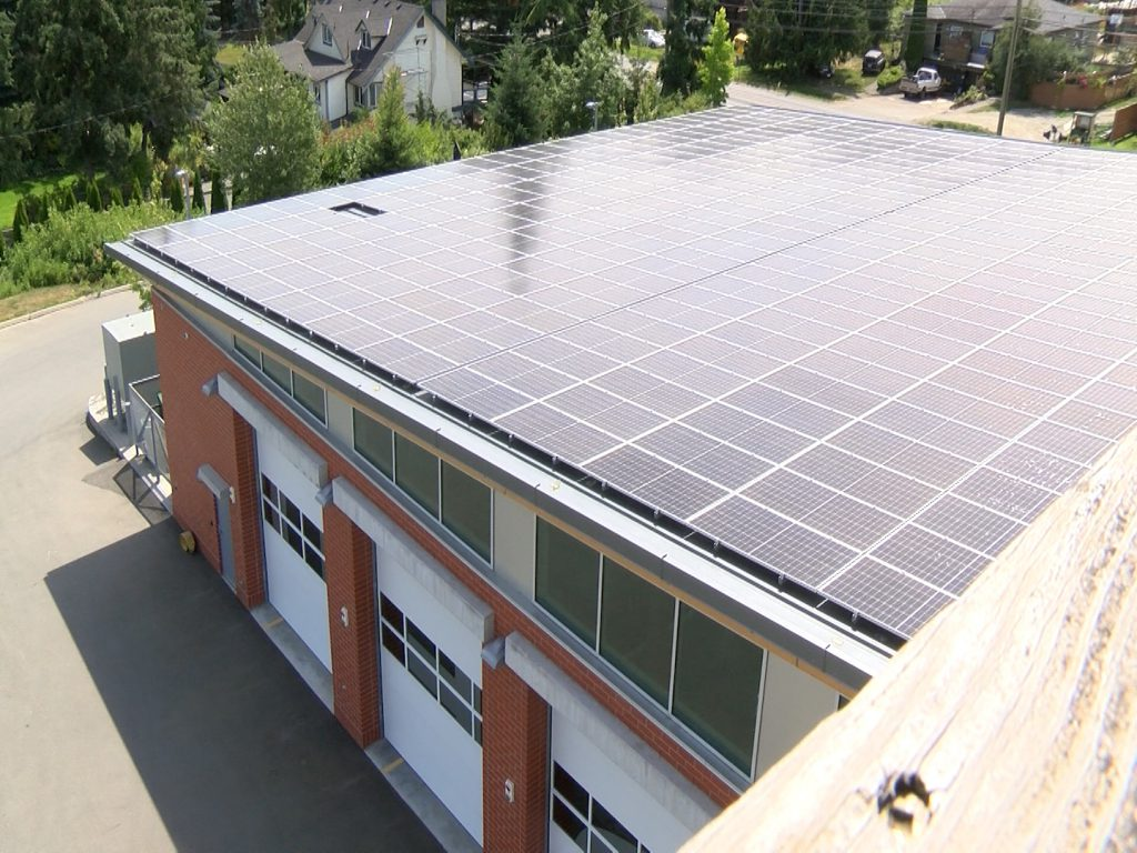 The new solar panels at the Central Saanich Fire Hall No. 1.