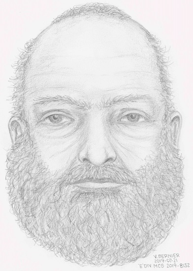 A sketch of the deceased man found at a pullout near Highway 37. (BC RCMP)
