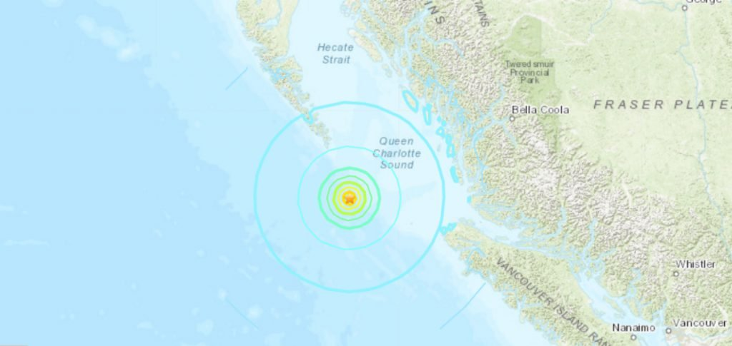 The United States Geological Survey said the earthquake was located 396.2 kilometres west, northwest of Campbell River. The USGS reported the earthquake at a 6.2 magnitude.