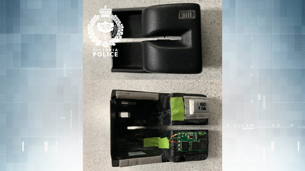 Police have released two photos of the front and back of the ATM skimmer found on Aug. 18, 2019. (VicPD)