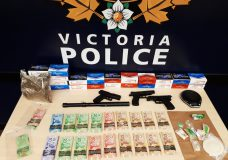 A photo of the items seized by Victoria police after they searched a home on Manchester Avenue. (VicPD)