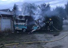The burned trailer after Port Alberni Fire Department crews extinguished the blaze
