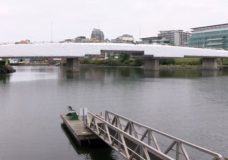 The Point Ellice Bridge surrounded by scaffolding as part of upgrade work.