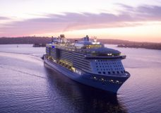 """The Royal Caribbean vessel """"Ovation of the Seas"""", one of the returning cruise ships."""