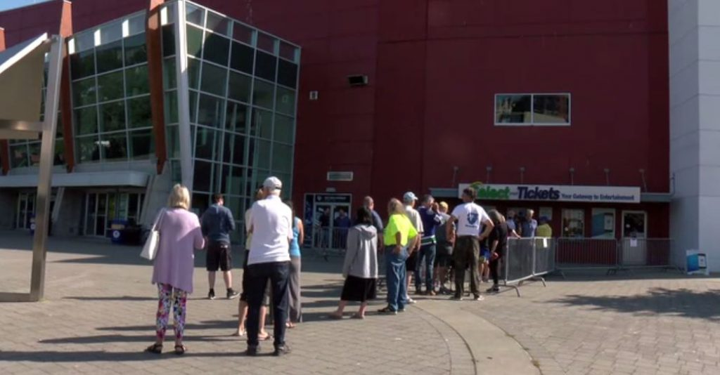 The lineup outside the Save-On-Foods Memorial Centre on Aug. 7, 2019, for Canucks vs. Flames tickets.