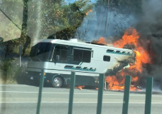 Nanoose crews extinguish RV fire that spread to nearby forest