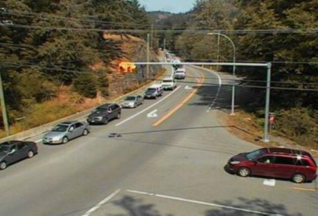 Traffic backed up on Highway 14 at Kangaroo Road, looking east, at around 3 p.m. (DriveBC)