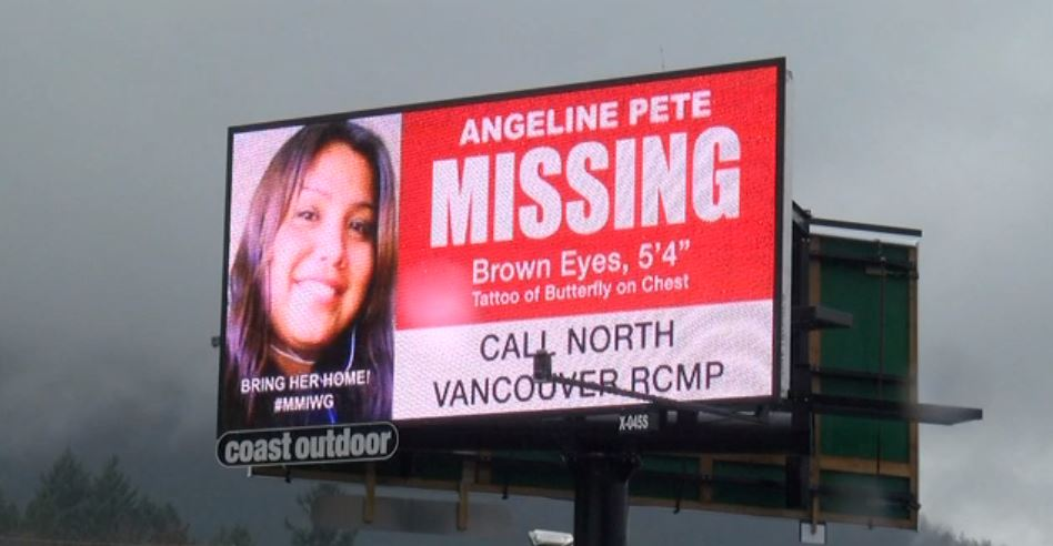 One of the billboards for two missing Indigenous woman from Vancouver Island.