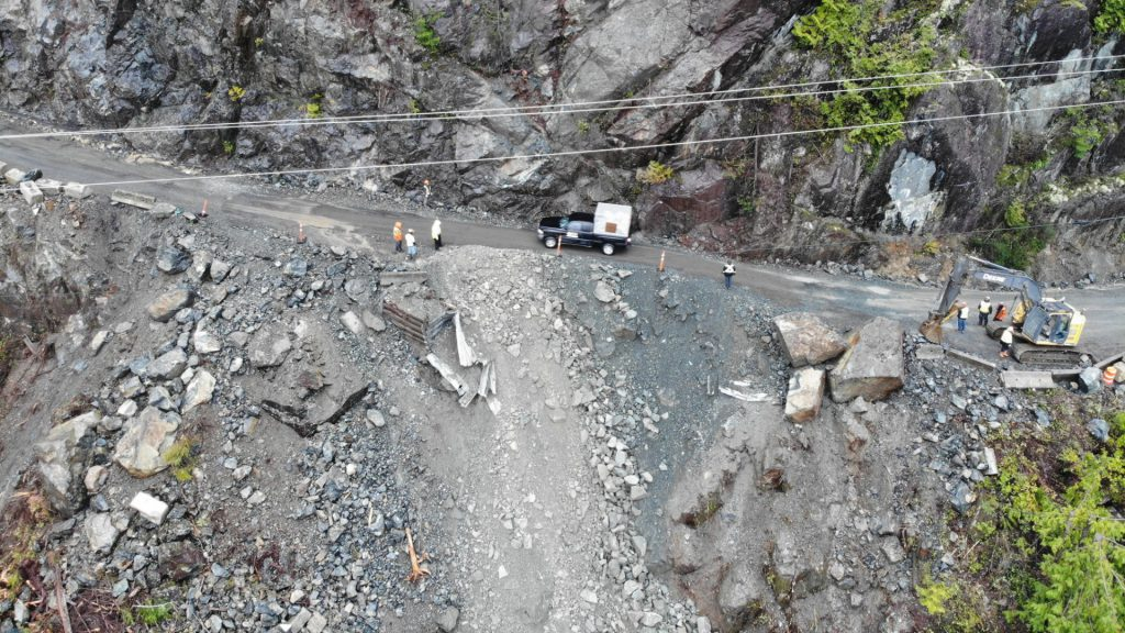 The aftermath of the rockslide on Highway 4 on Jan. 23, 2020.