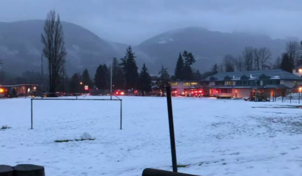 Emergency crews respond to reports of a fire at Lake Cowichan Secondary School