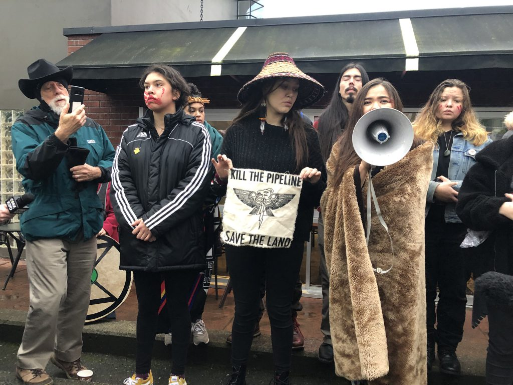 Protesters supporting Wet'suwet'en hereditary leaders' opposed to a natural gas pipeline project in Northern B.C., protest the arrest of Indigenous youth