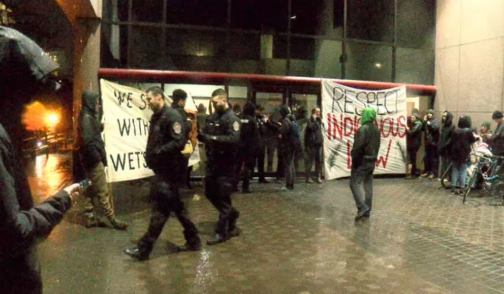 Protesters occupy government offices in Victoria to support Wet'suwet'en hereditary leaders