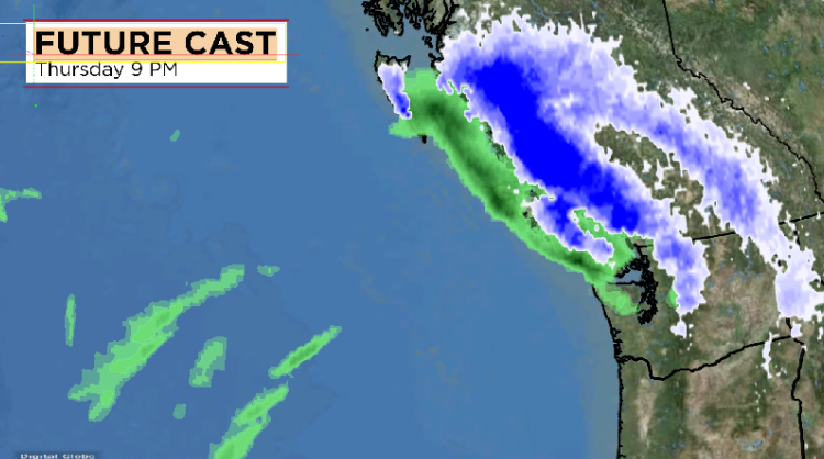 Environment Canada modelling shows where the winter storm will hit on Vancouver Island.