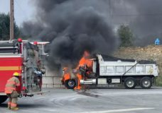Two commercial trucks catch fire on the Malahat