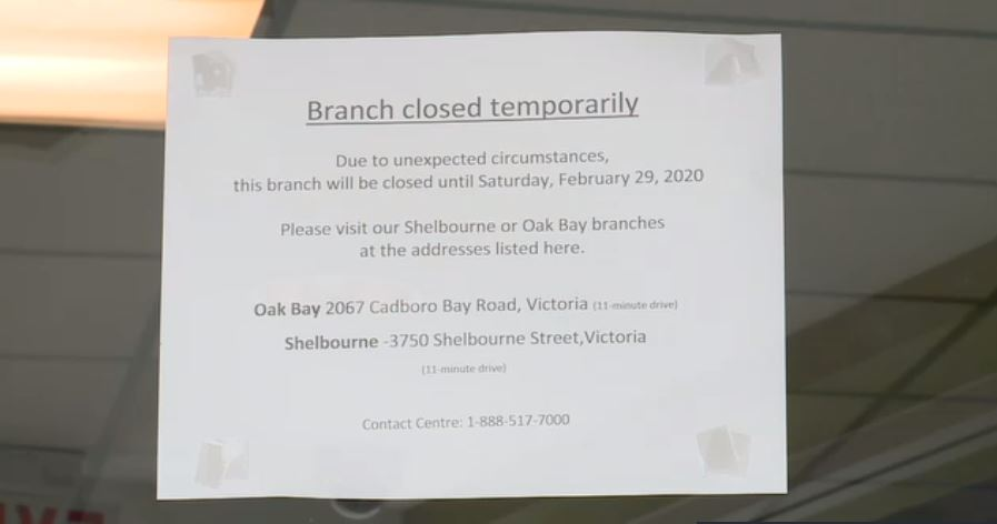 Saanich bank to reopen Saturday following coronavirus scare
