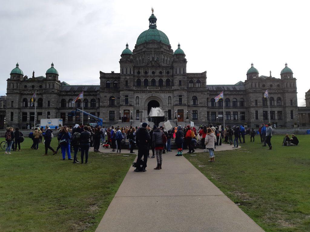 The rally for Wet'suwet'en and Tyendinaga on Feb. 24, 2020, at the B.C. legislature in Victoria.