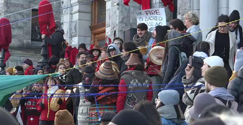 Supporters of hereditary chiefs of the Wet'suwet'en Nation block the entrance to the B.C. legislature on Feb. 11, 2020.