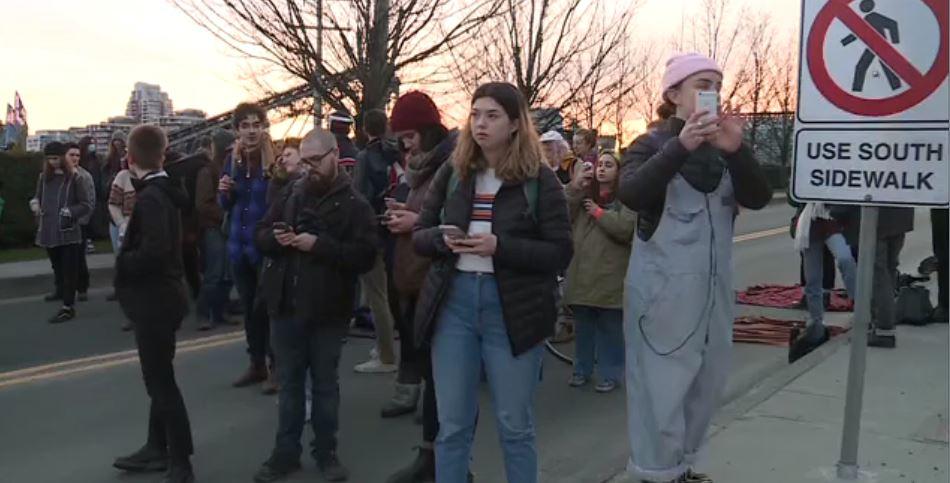 Demonstrators block the Bay Street bridge on Feb. 10, 2020.