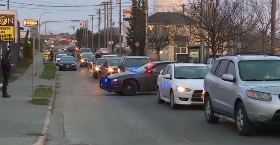 Some of the traffic backed up due to the protest on the Bay Street bridge on Feb. 10, 2020.