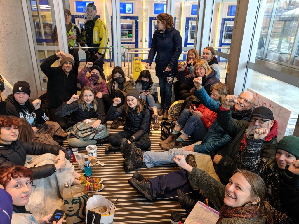 The protesters at the downtown Victoria RBC branch on Feb. 7, 2020. (Grace Sinats - spokesperson for youth occupying RBC bank)