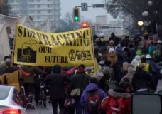 Activists supporting Wet'suwet'en block Victoria traffic, occupy RBC branch downtown