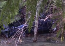 The truck that was found after three men went missing near Sooke.