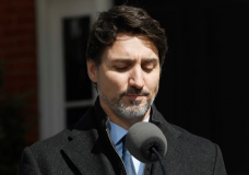 Prime Minister Justin Trudeau holds a news conference on the COVID-19 situation in Ottawa on Monday. (Adrian Wyld/Canadian Press). Photo courtesy of CBC.