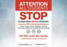 A sign outside Irene Jackson's studio, telling students what to do before entering. (Irene Jackson)