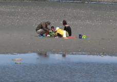 A family on a Vancouver Island beach.