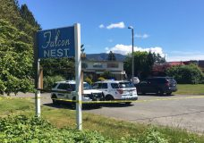 North Cowichan RCMP on scene at the Falcon Nest on May 18, 2020.