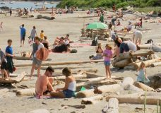 Many people went to the beaches on Vancouver Island this weekend due to the warm weather.