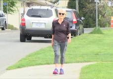 Sylvia Macmahon goes for a daily walk in Victoria.