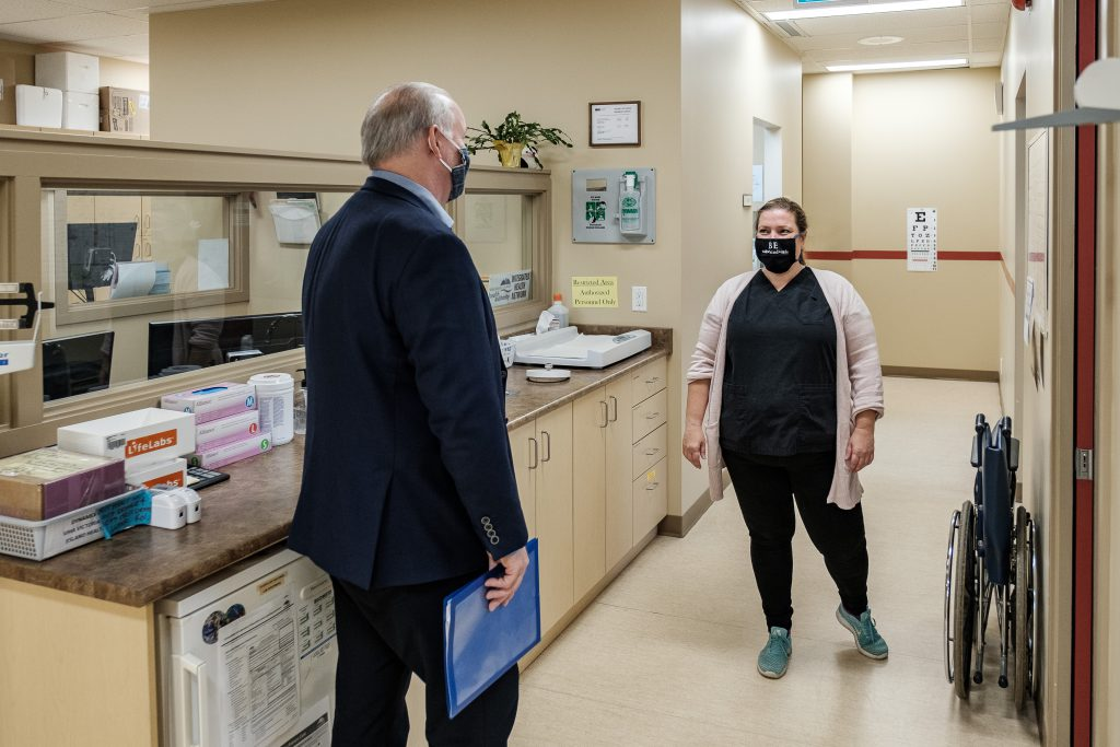 Premier John Horgan tours the expansion of the West Coast Family Medical Clinic in Sooke on June 12, 2020. (Province of BC)