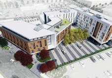 An artist rendering of Crosstown, a proposed mixed-used affordable rental housing development at 3020 Douglas St. and 584 Burnside Road E., where the Tally-Ho used to be located.