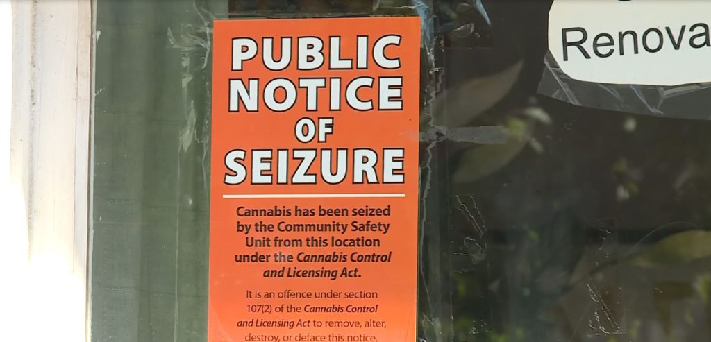 A public seizure notice at the Victoria Cannabis Buyers Club on July 15, 2020.
