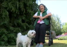 Josi Abata with her dog Scooter on July 17, 2020.
