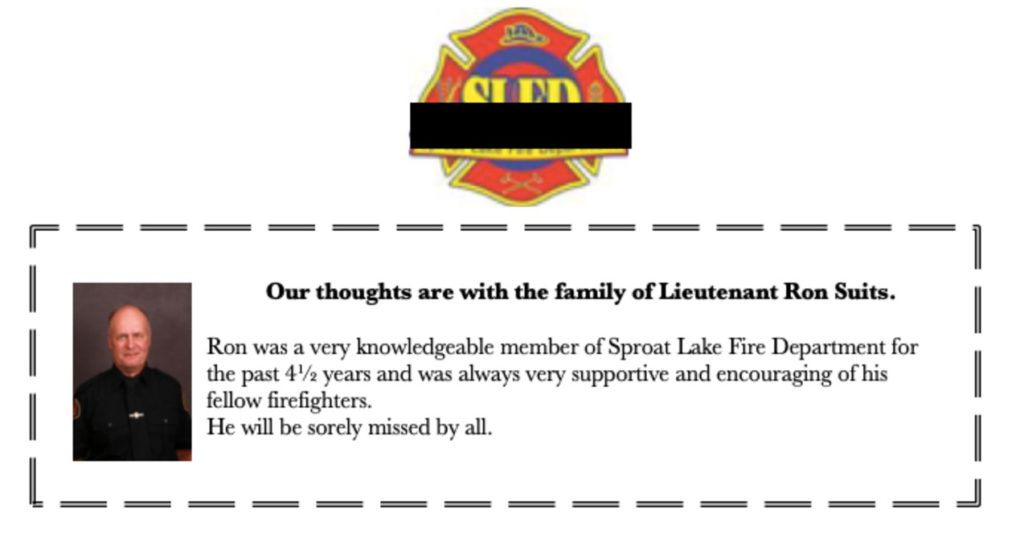 Sproat Lake firefighter dies after arriving at barn fire Thursday