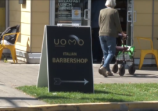 The Uomo Modern Barber sandwich board.