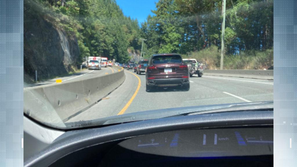Northbound traffic on the Malahat moving slowly passed a single vehicle crash