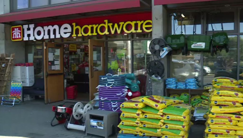 The Home Hardware on Oak Bay Avenue on Aug. 12. One person was assaulted at the store.