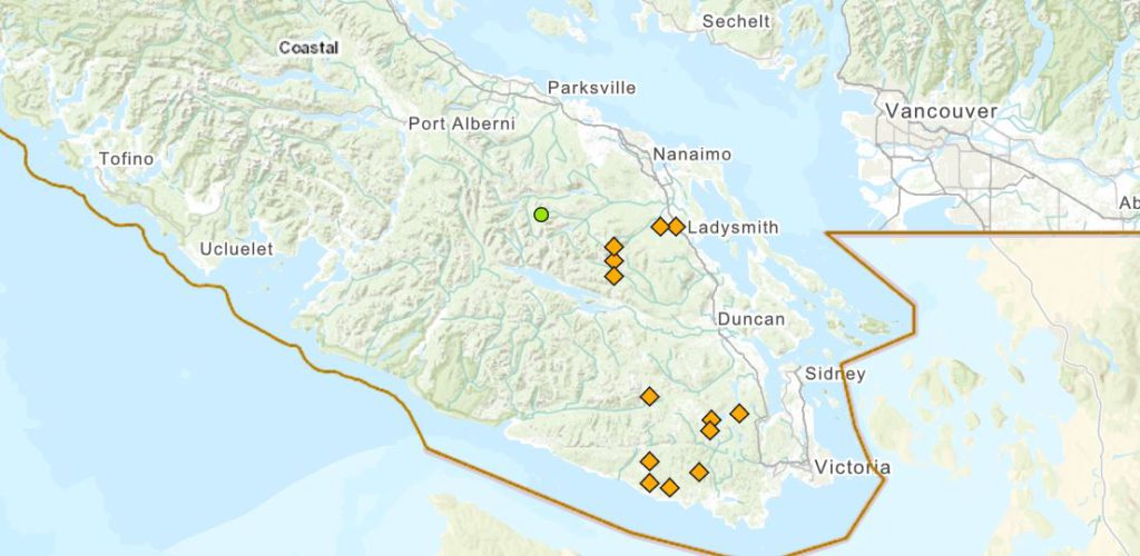 A map from the BC Wildfire Service shows some of the wildfires sparked by lightning on Vancouver Island.