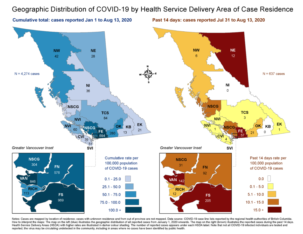 COVID-19 cases across B.C., including the time period from July 31 to Aug. 13, 2020. (BC CDC)