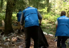 Homeless volunteers cleaning up homeless camps in Campbell River