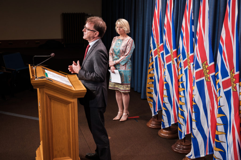 Health Minister Adrian Dix and Chief Provincial Health Officer Dr. Bonnie Henry provide an update on COVID-19 on September 14, 2020. (Province of BC)