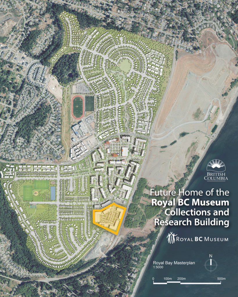 One of the maps showing where the Royal BC Museum Collections and Research building will be built in Colwood (Province of BC)